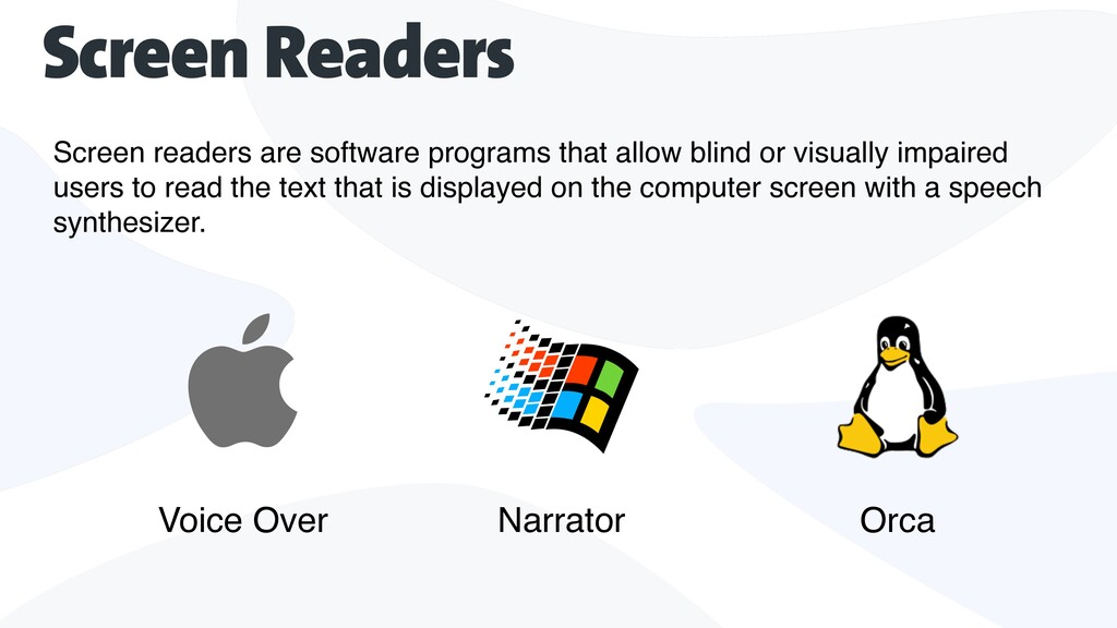 Screen readers are software programs that allow...