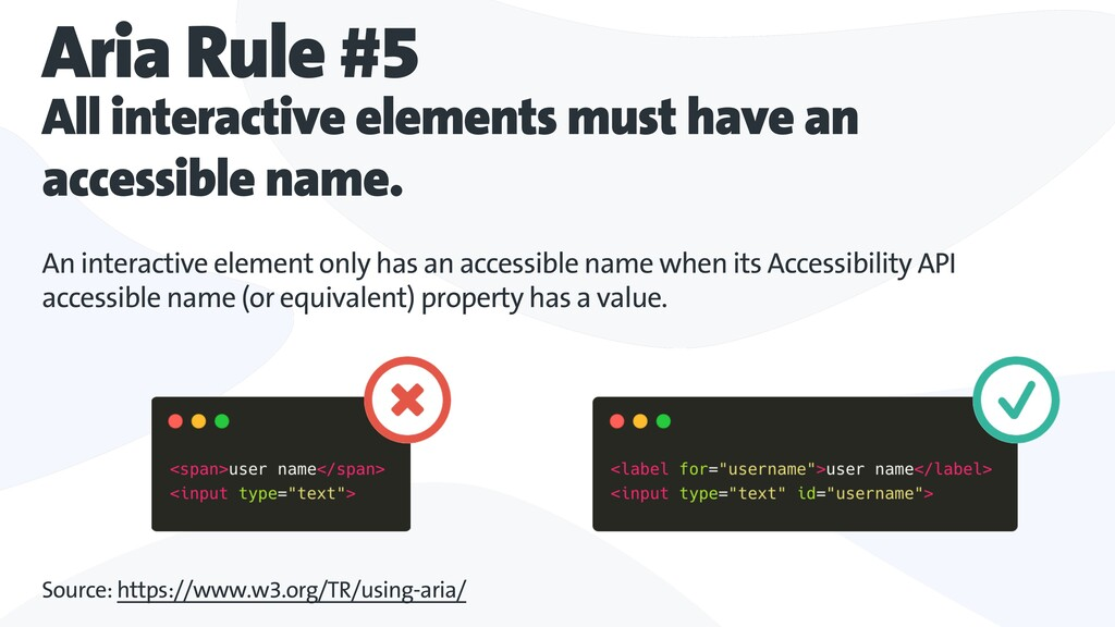 Aria Rule #5 All interactive elements must have...