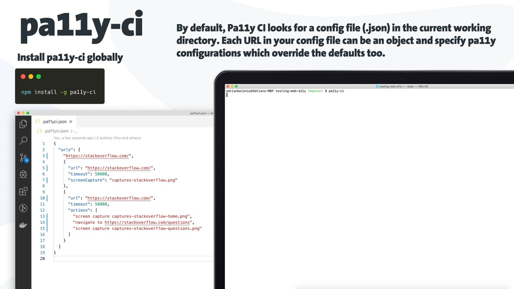 pa11y-ci By default, Pa11y CI looks for a confi...
