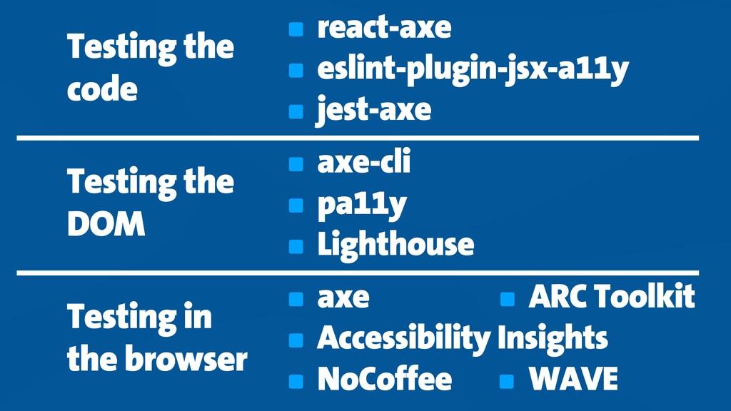 react-axe eslint-plugin-jsx-a11y jest-axe axe-c...