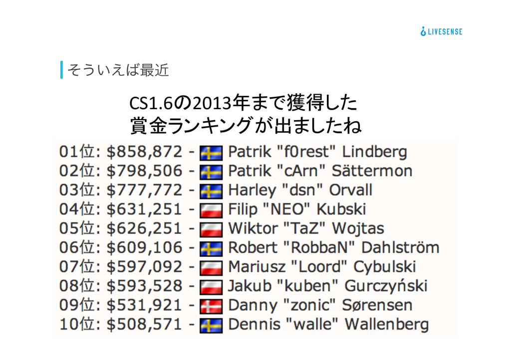 ͦ͏͍͑࠷ۙ CS1.6の2013年まで獲得した  賞金ランキングが出ましたね