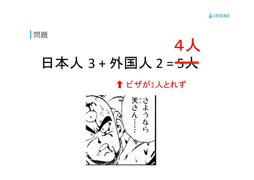  日本人 3 + 外国人 2 = 5人  ‐ ビザが1...