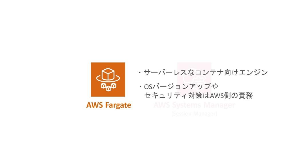 AWS Fargate ・サーバーレスなコンテナ向けエンジン ・OSバージョンアップや セキュ...