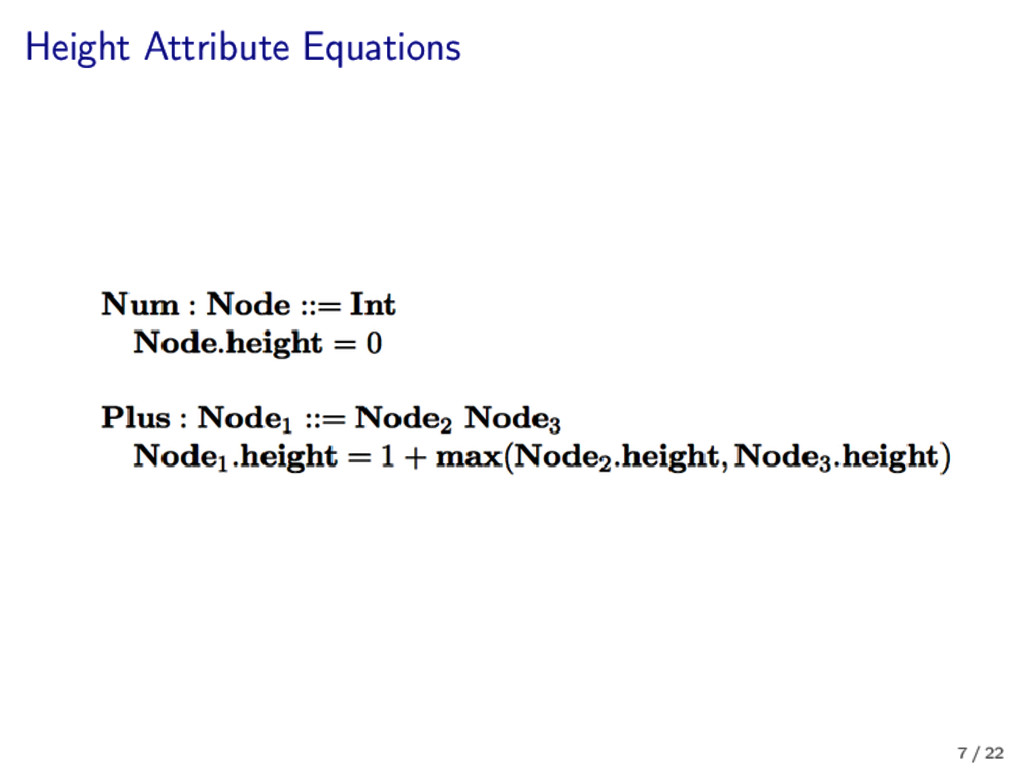 Height Attribute Equations 7 / 22