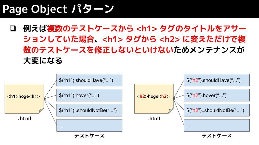 ❏ 例えば複数のテストケースから <h1> タグのタイトルをアサー ションしていた場合、<h1...