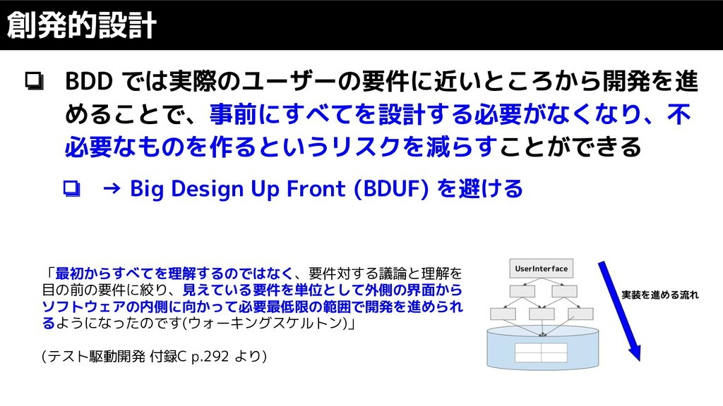 ❏ BDD では実際のユーザーの要件に近いところから開発を進 めることで、事前にすべてを設計す...