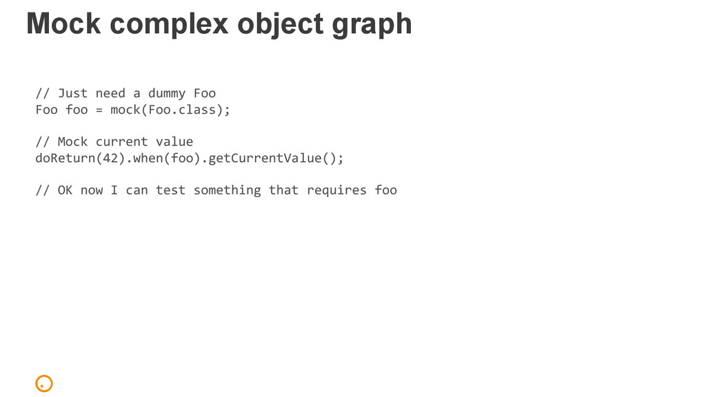 Mock complex object graph // Just need a dummy ...