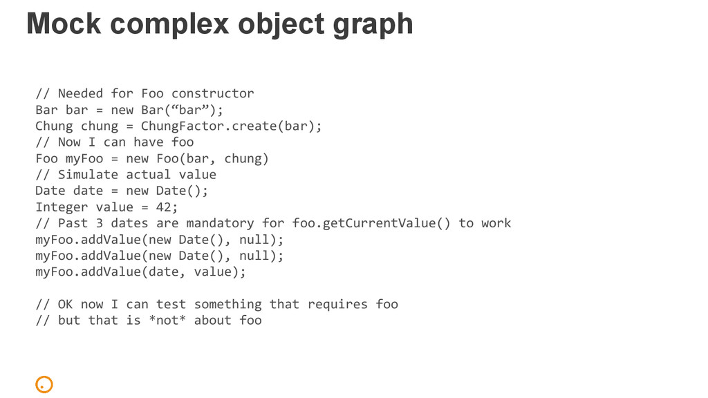 Mock complex object graph // Needed for Foo con...