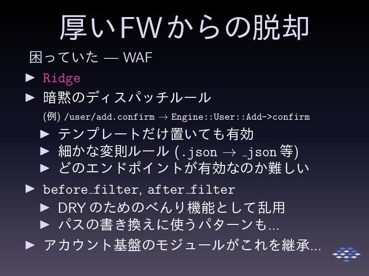 ް͍FW͔Βͷ٫ ࠔ͍ͬͯͨ — WAF ▶ Ridge ▶ ҉ͷσΟεύονϧʔϧ (ྫ...