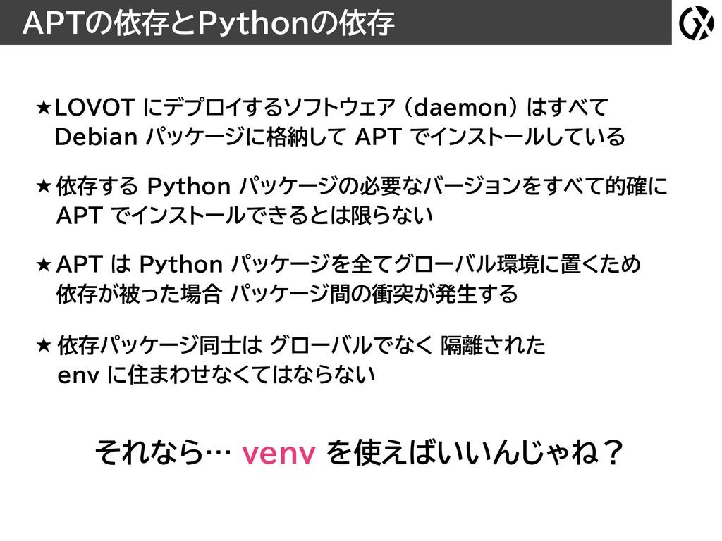 APTの依存とPythonの依存 それなら… venv を使えばいいんじゃね? ★ LOVOT...