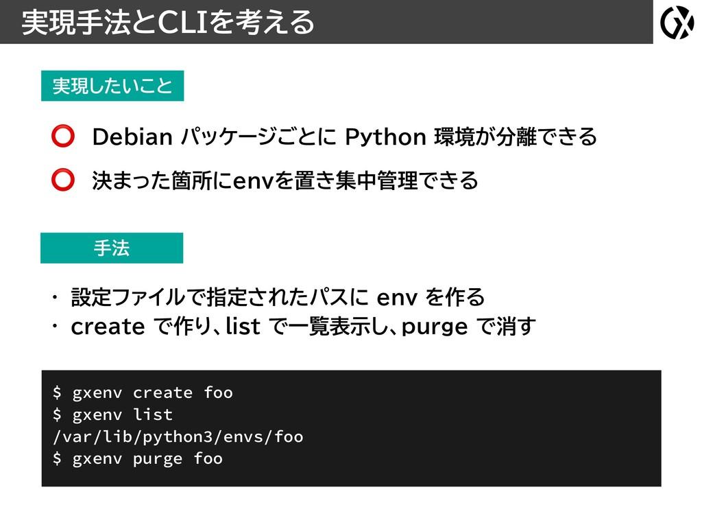 実現したいこと 実現手法とCLIを考える Debian パッケージごとに Python 環境が...