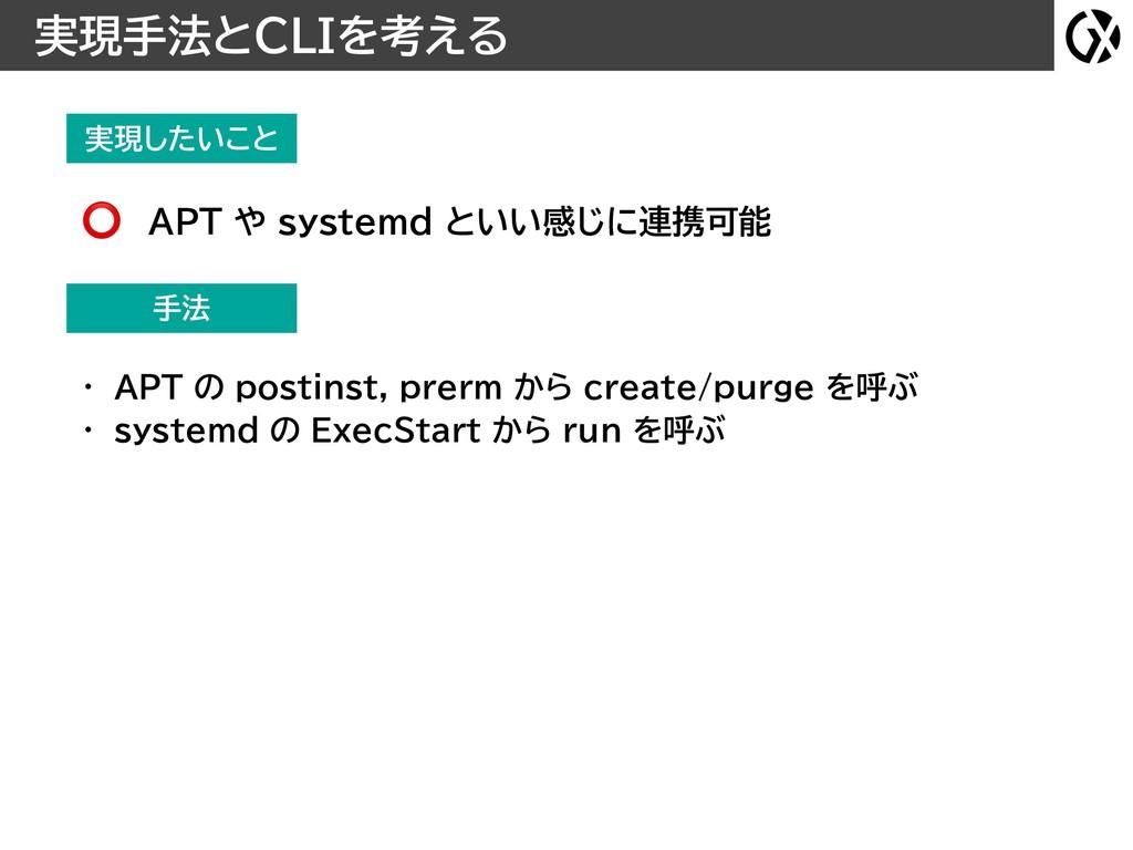 実現したいこと 実現手法とCLIを考える 手法 • APT の postinst, prerm...