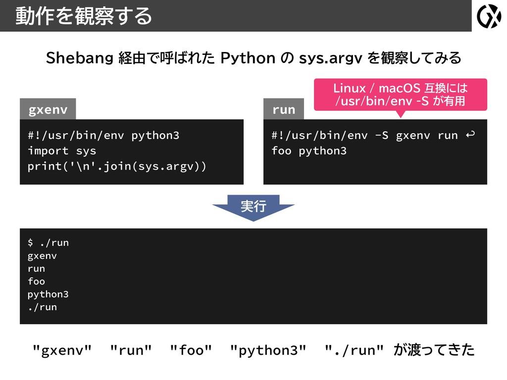 動作を観察する Shebang 経由で呼ばれた Python の sys.argv を観察して...