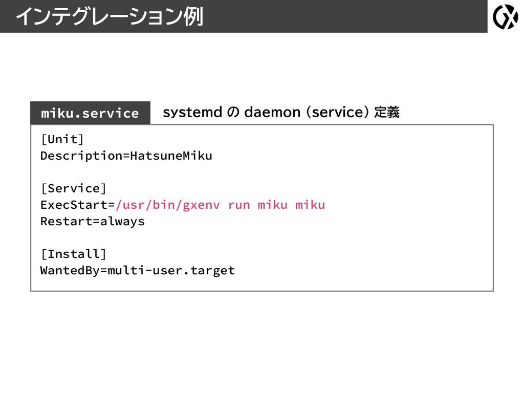 インテグレーション例 miku.service systemd の daemon (servi...