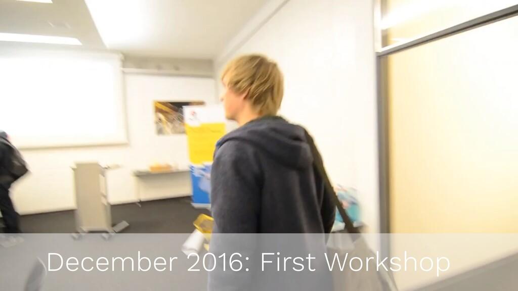 December 2016: First Workshop