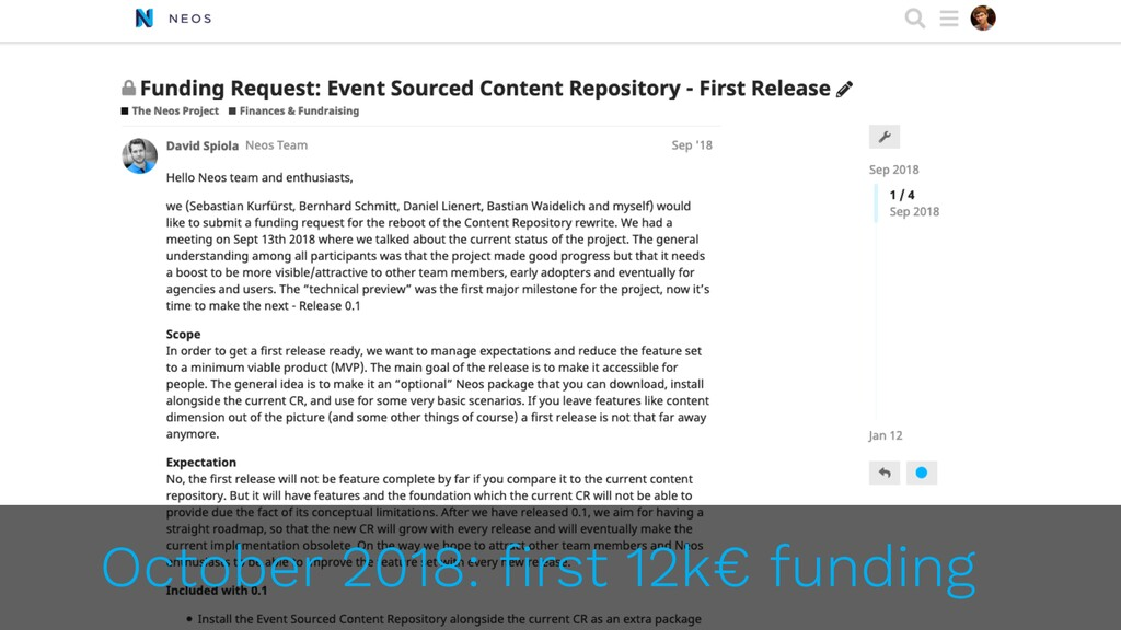 October 2018: first 12k€ funding