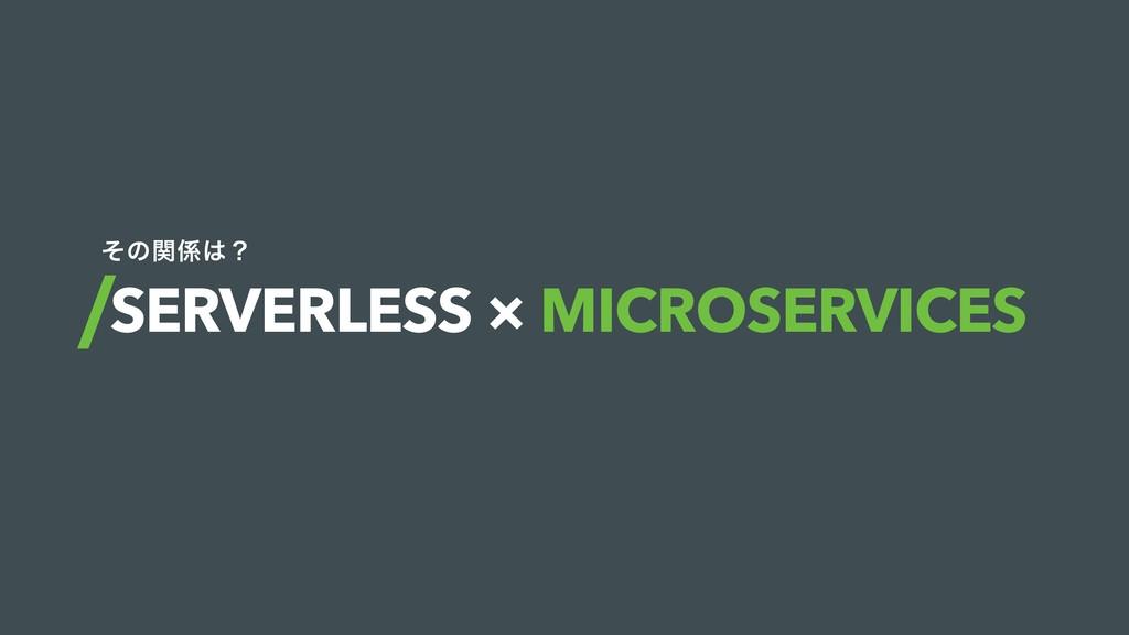 SERVERLESS × MICROSERVICES ͦͷؔʁ