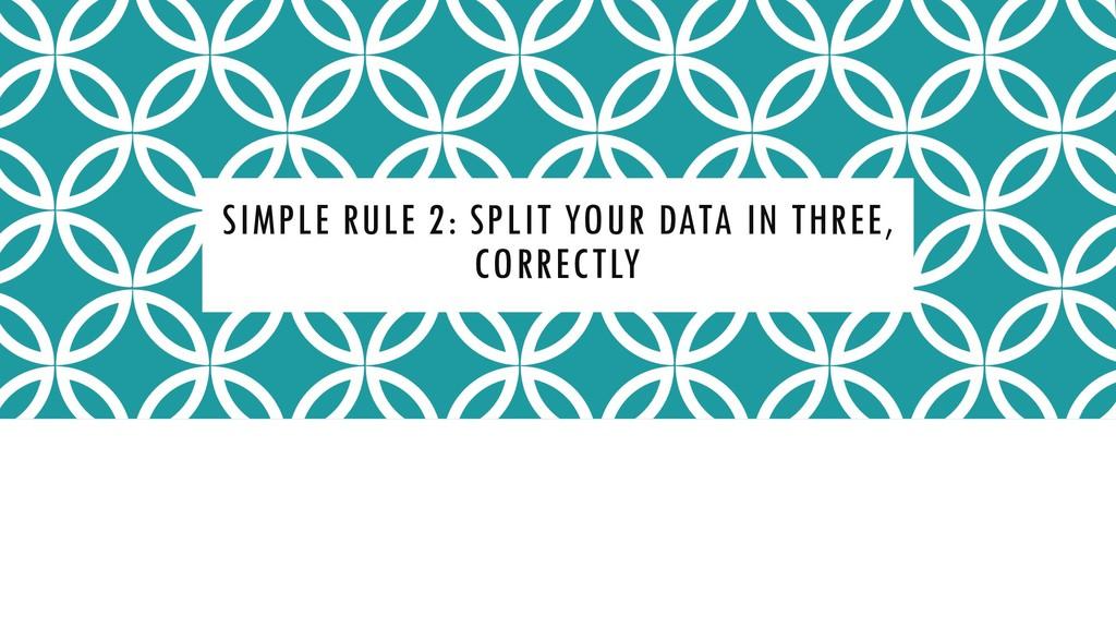SIMPLE RULE 2: SPLIT YOUR DATA IN THREE, CORREC...