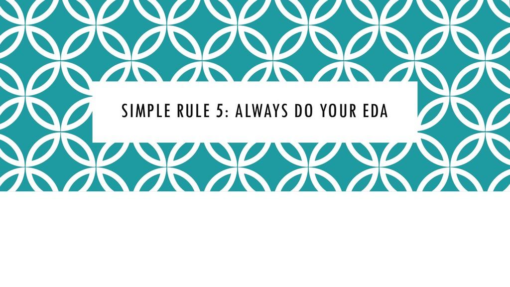 SIMPLE RULE 5: ALWAYS DO YOUR EDA
