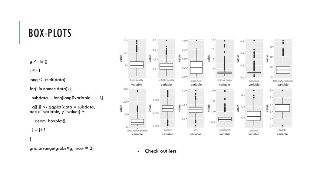 BOX-PLOTS g <- list() j <- 1 long <- melt(data)...