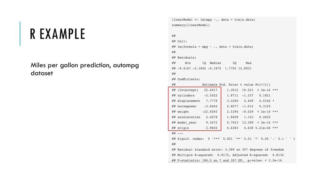 R EXAMPLE Miles per gallon prediction, autompg ...
