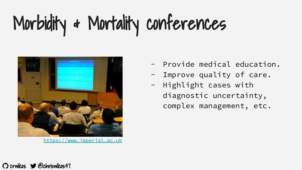 crwilcox @chriswilcox47 Morbidity & Mortality c...
