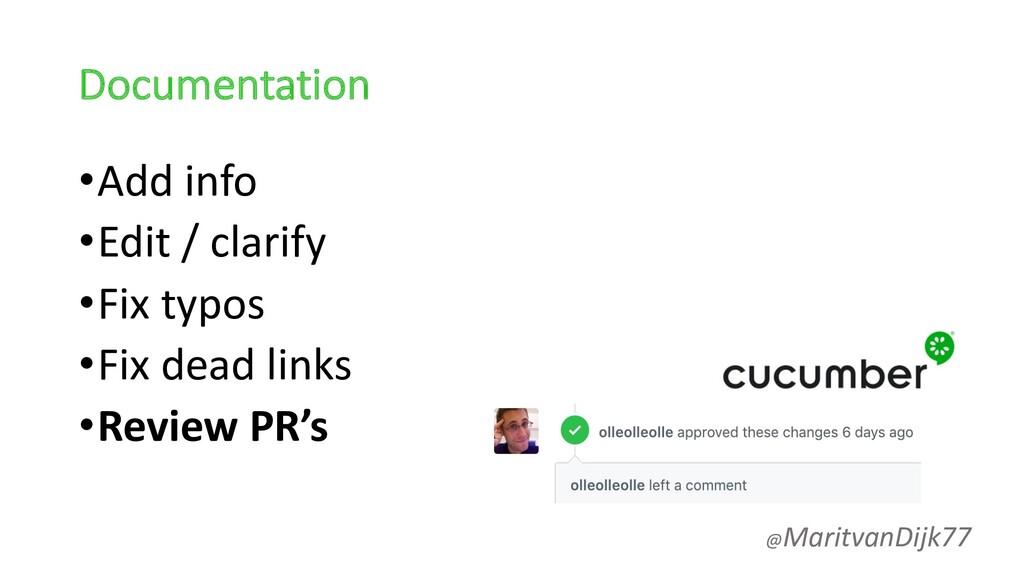 Documentation •Add info •Edit / clarify •Fix ty...