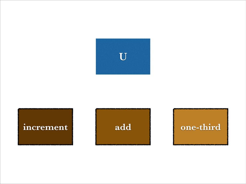 add increment one-third U