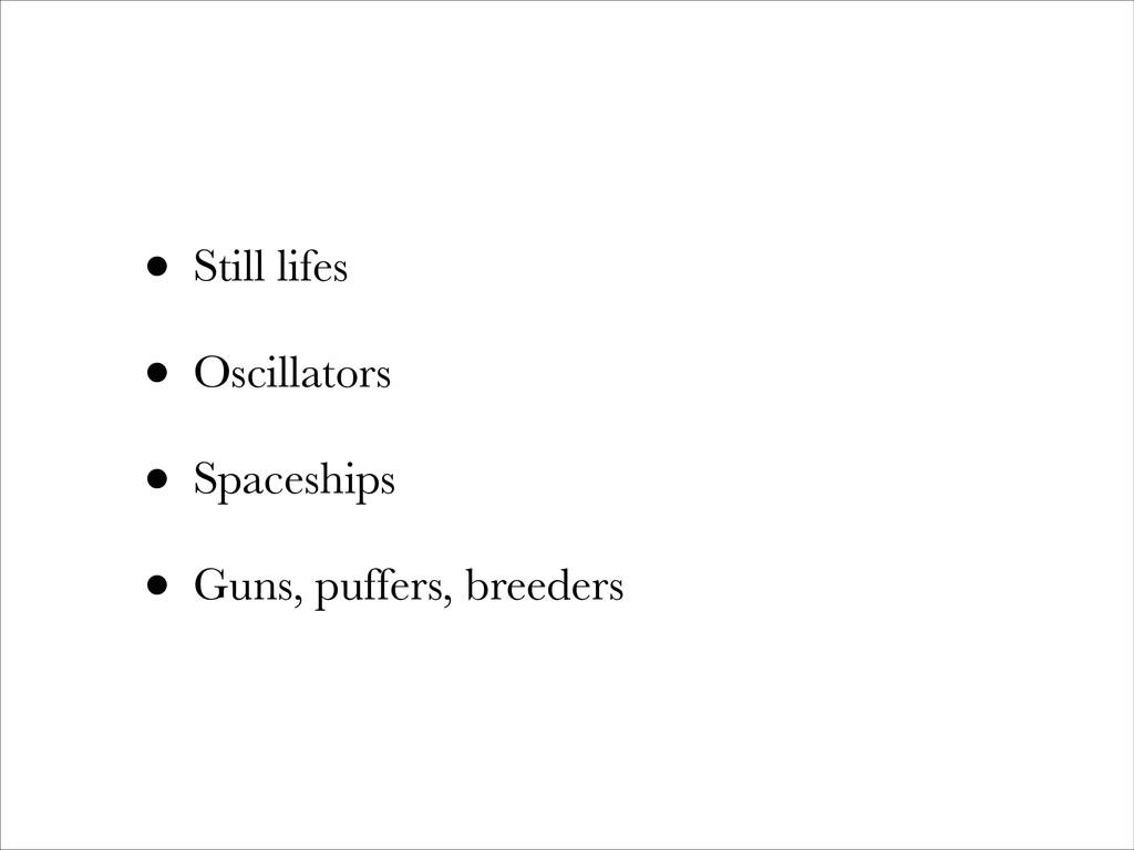 • Still lifes • Oscillators • Spaceships • Guns...