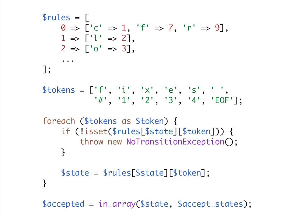 $rules = [ 0 => ['c' => 1, 'f' => 7, 'r' => 9],...