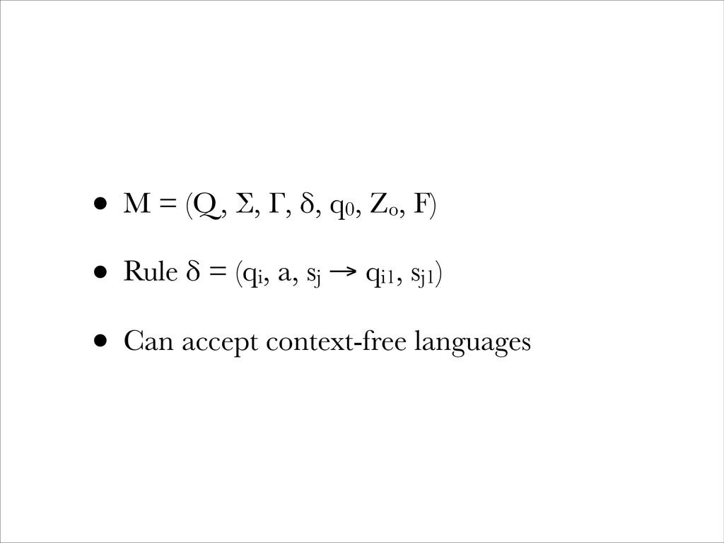 • M = (Q, Σ, Γ, δ, q0, Zo, F) • Rule δ = (qi, a...