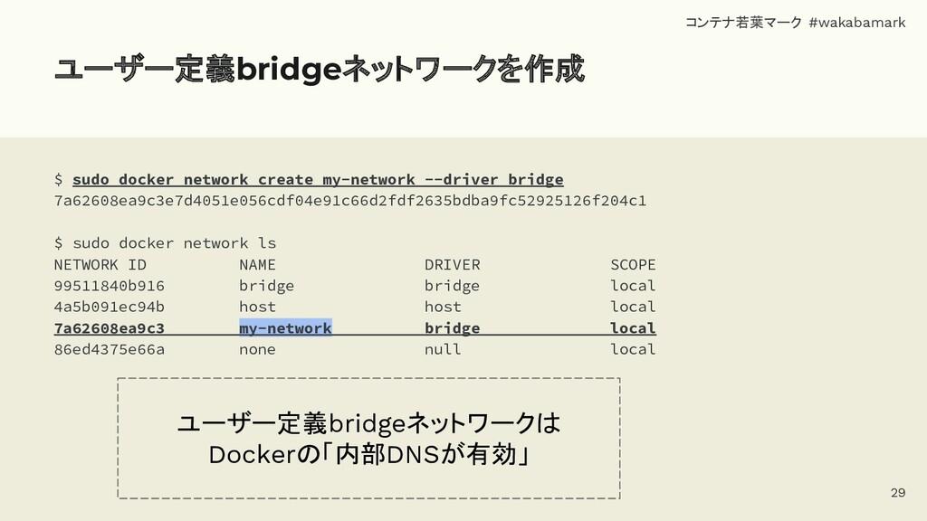 ユーザー定義bridgeネットワークを作成 $ sudo docker network cre...