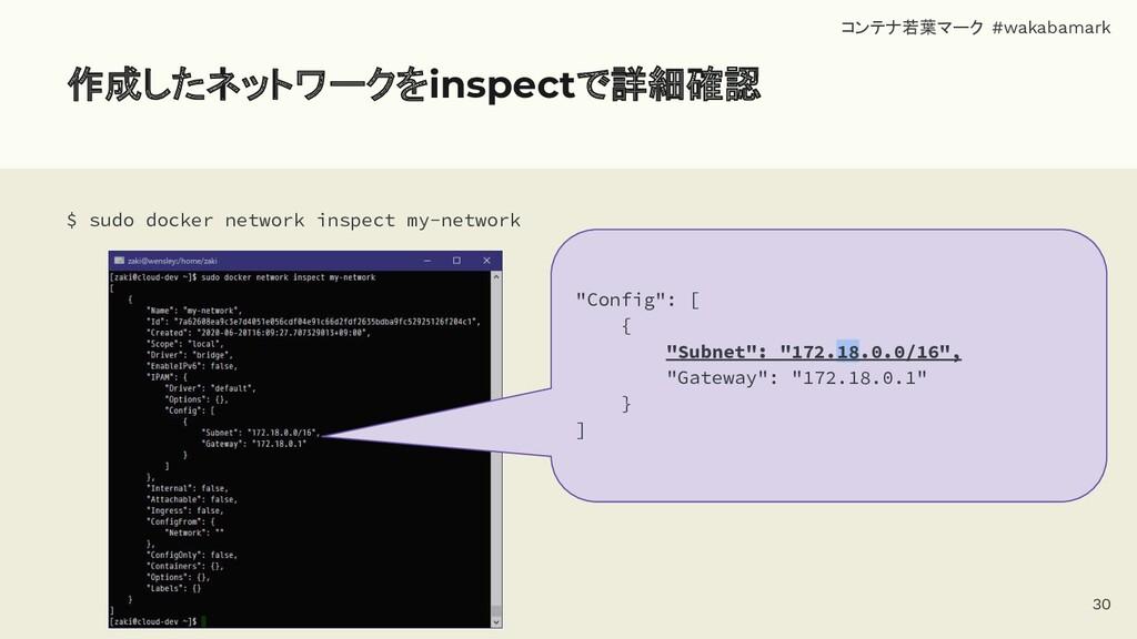 作成したネットワークをinspectで詳細確認 $ sudo docker network i...