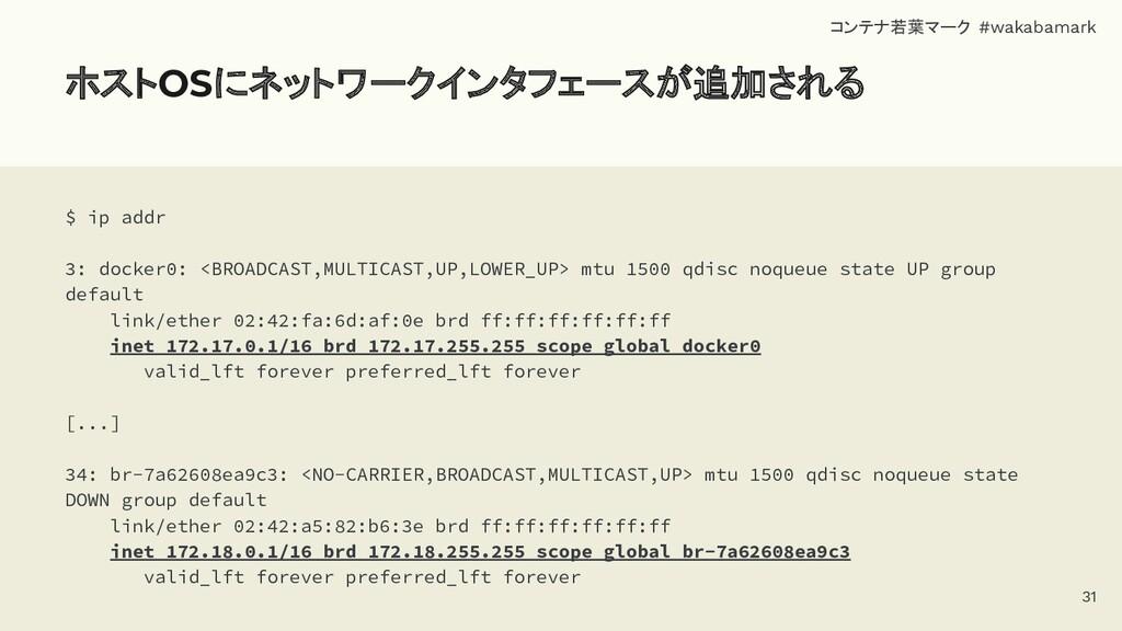 ホストOSにネットワークインタフェースが追加される $ ip addr 3: docker0:...