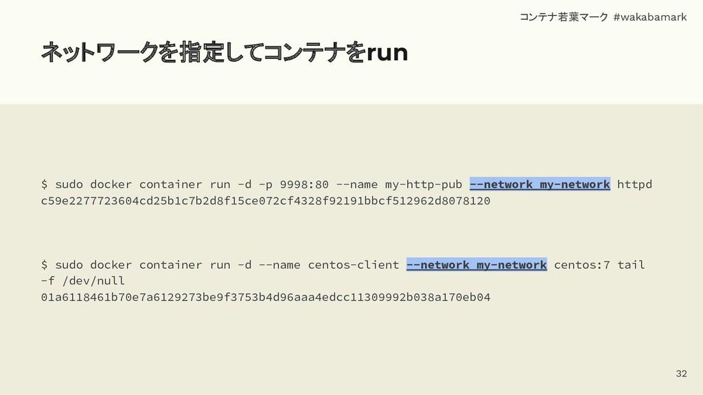 ネットワークを指定してコンテナをrun $ sudo docker container run...