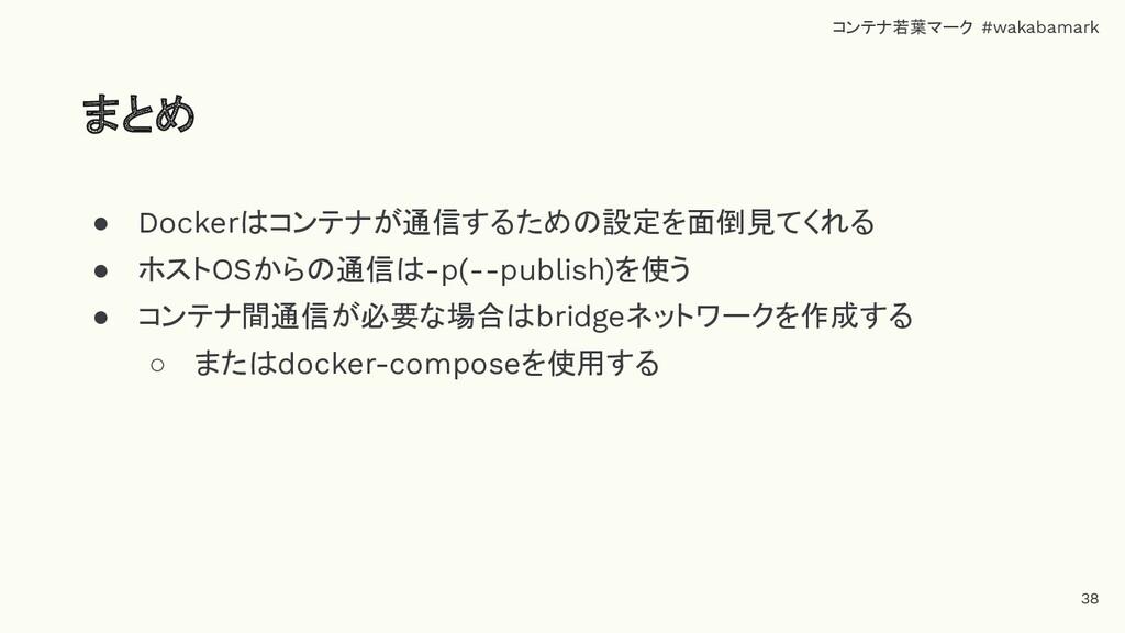 ● Dockerはコンテナが通信するための設定を面倒見てくれる ● ホストOSからの通信は-p...
