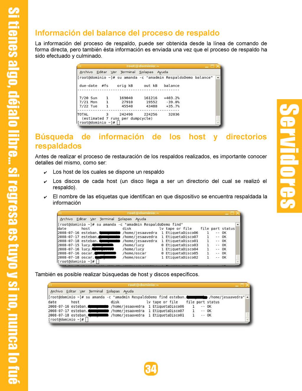 Información del balance del proceso de respaldo...