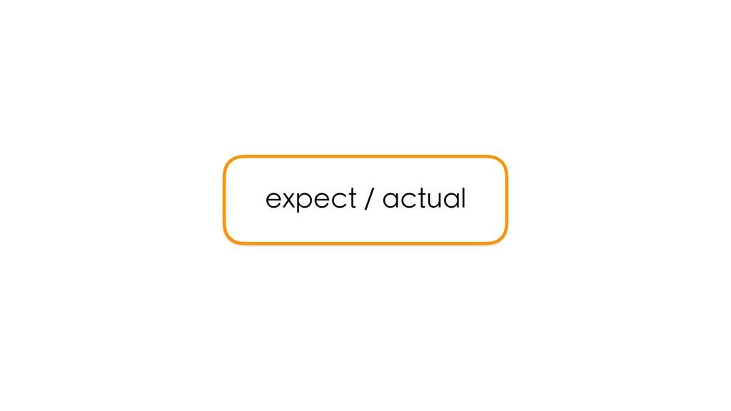 expect / actual