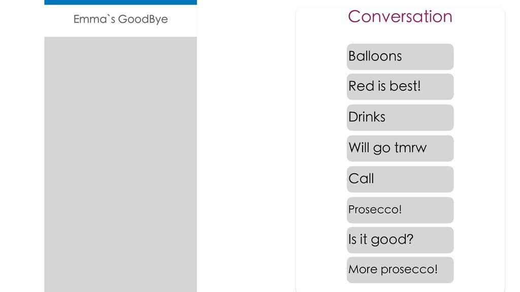 Emma`s GoodBye Conversation Drinks Drinks Ballo...