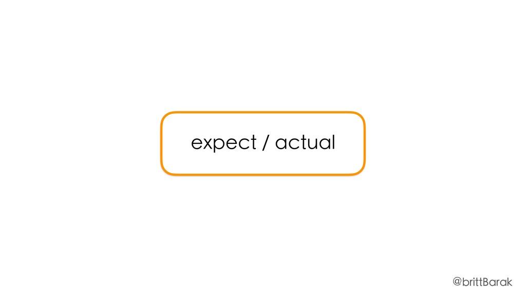 expect / actual @brittBarak