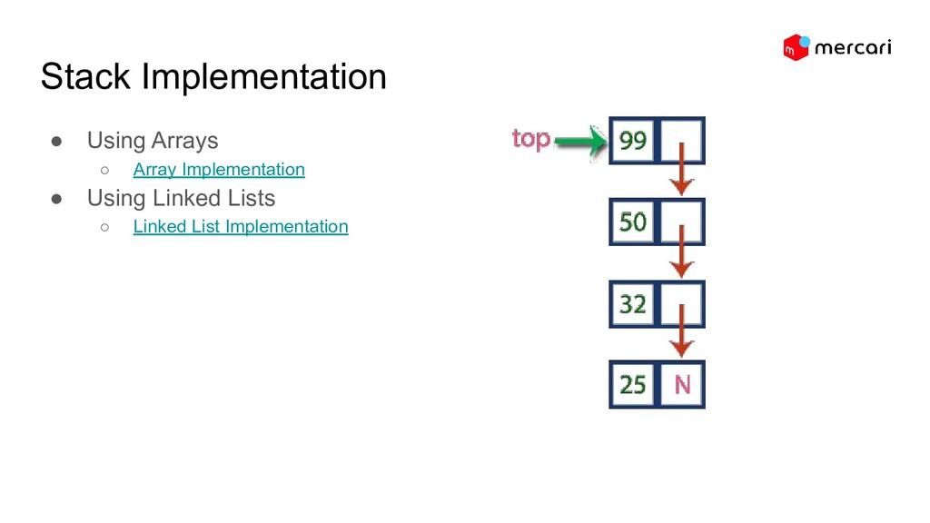Stack Implementation ● Using Arrays ○ Array Imp...
