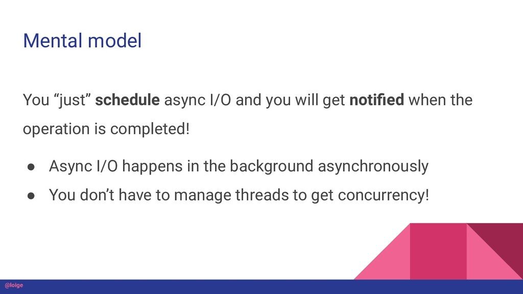 """Mental model You """"just"""" schedule async I/O and ..."""