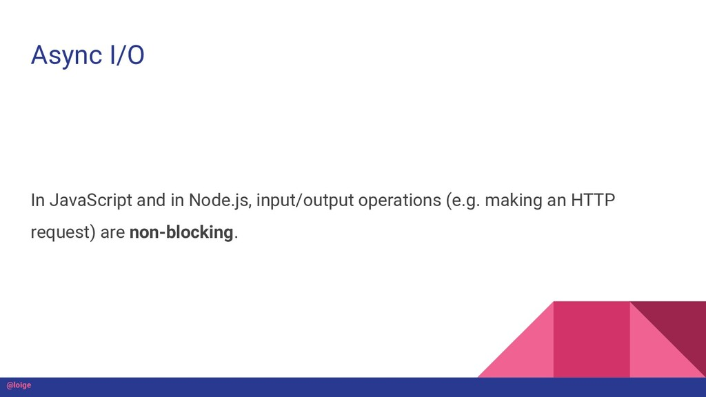 Async I/O In JavaScript and in Node.js, input/o...