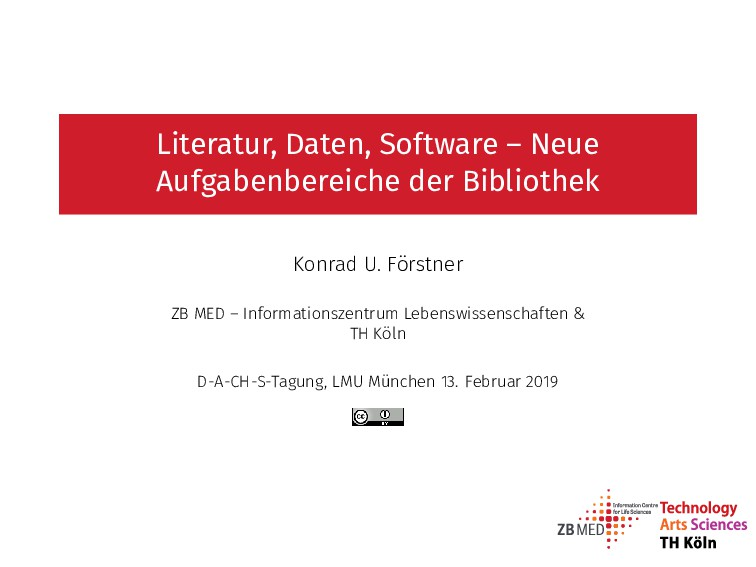 Literatur, Daten, So tware – Neue Aufgabenberei...