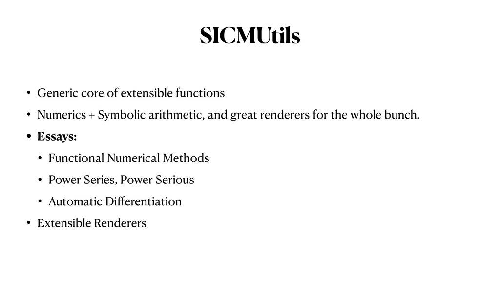 SICMUtils • Generic core of extensible function...