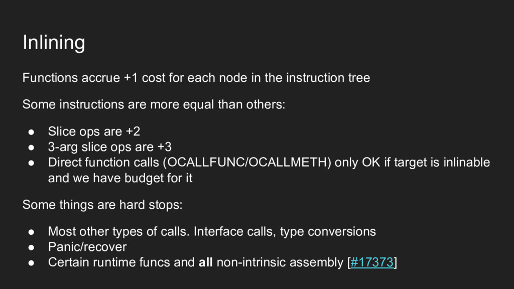 Inlining Functions accrue +1 cost for each node...