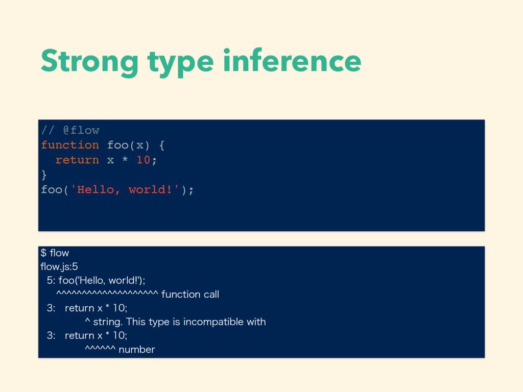 Strong type inference // @flow function foo(x) ...