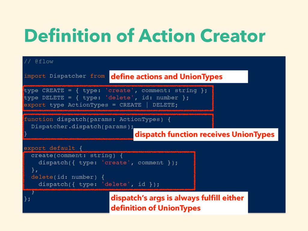 Definition of Action Creator // @flow import Dis...