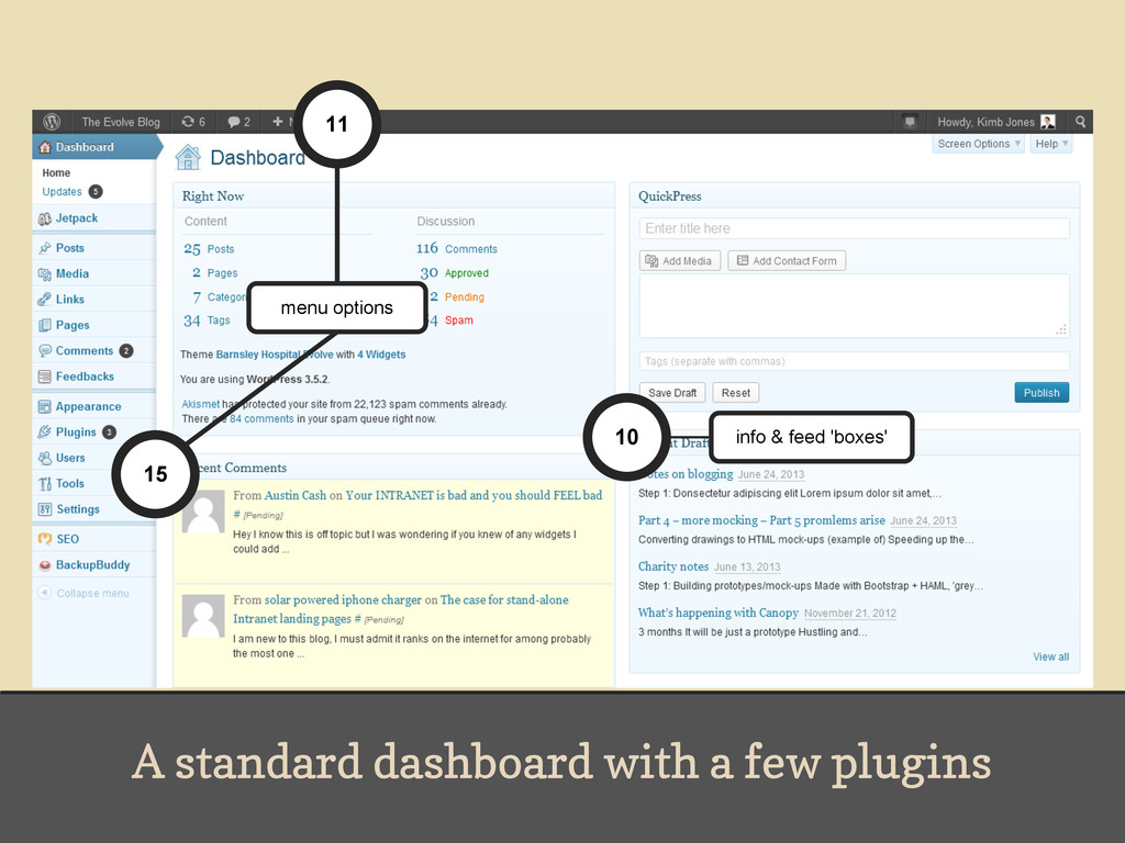 A standard dashboard with a few plugins 15 11 1...