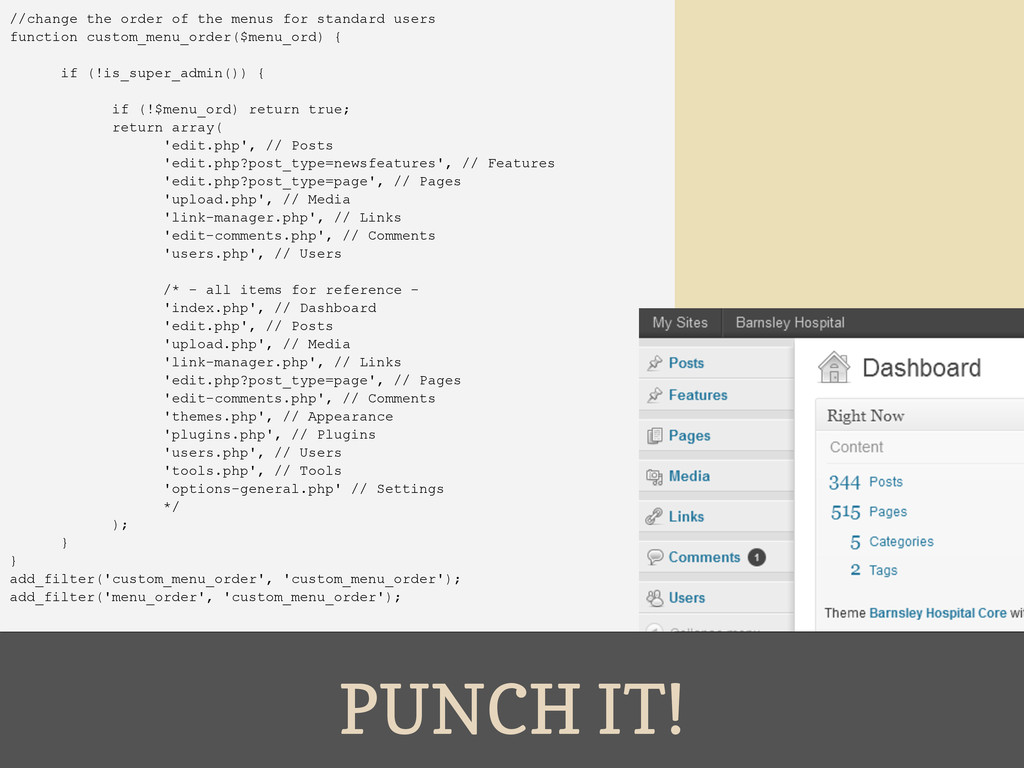 PUNCH IT! //change the order of the menus for s...